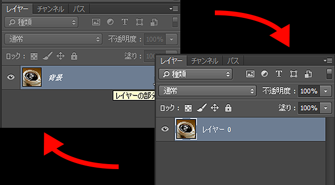 [Photoshop]「背景」レイヤー ⇔ 「レイヤー0」の切り替え