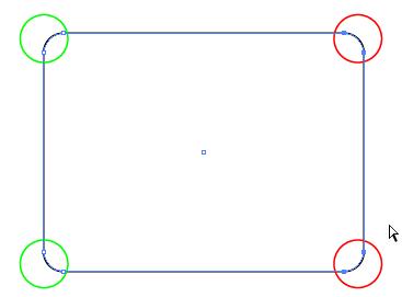 2つの角が選択された状態